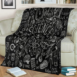 Science Chalkboard Design #1 Throw Blanket (Black) - FREE SHIPPING