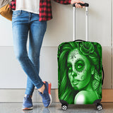 Calavera Fresh Look Design #2 Luggage Cover (Green Lime Rose) - FREE SHIPPING