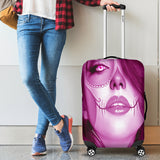 Calavera Fresh Look Design #3 Luggage Cover (Pink Mystic Topaz) - FREE SHIPPING