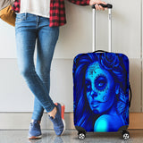 Calavera Fresh Look Design #2 Luggage Cover (Blue Elusive Rose) - FREE SHIPPING