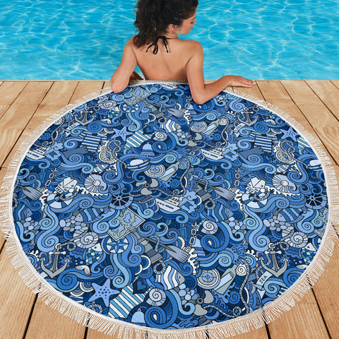 Nautical Design Beach Blanket (Sky Blue) - FREE SHIPPING