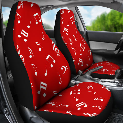 Musical Notes Design #1 (Red) Car Seat Covers - FREE SHIPPING