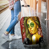 Calavera Fresh Look Design #2 Luggage Cover (Yellow Smiley Face Rose) - FREE SHIPPING
