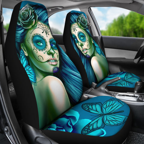 Calavera Fresh Look Design #2 Car Seat Covers (Turquoise Tiffany Rose) - FREE SHIPPING