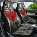 I Love Schnauzers Car Seat Covers (Sharkskin, With Heart)  - FREE SHIPPING