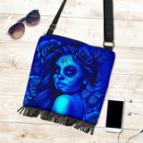 Calavera Fresh Look Design #2 Cross-Body Boho Handbag (Blue Elusive Rose) - FREE SHIPPING