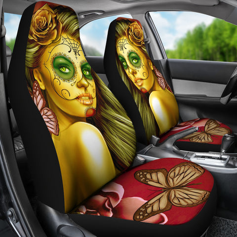 Calavera Fresh Look Design #2 Car Seat Covers (Yellow Smiley Face Rose) - FREE SHIPPING