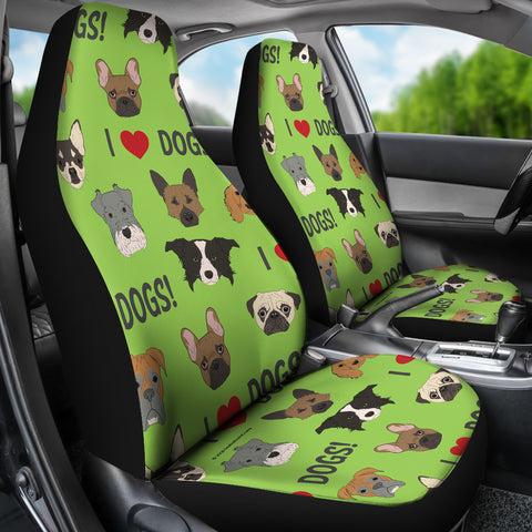 I Love Dogs Car Seat Covers (Richmond SPCA Green) - FREE SHIPPING