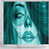 Calavera Fresh Look Design #3 Shower Curtain (Ice Blue Aquamarine) - FREE SHIPPING