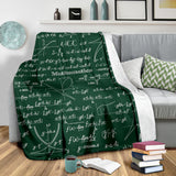 Mathematica Chalkboard Design #2 Throw Blanket (Green) - FREE SHIPPING