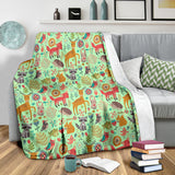 Wildlife Collection - Forest Animals (Light Green) Throw Blanket - FREE SHIPPING