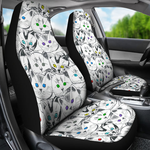 Cats Galore Car Seat Covers (White)  - FREE SHIPPING