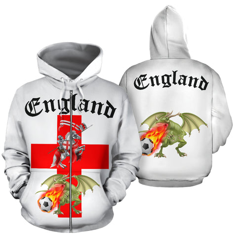 England Soccer Fan Zip Up Hoodie (Black Text) - FREE SHIPPING