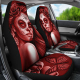 Calavera Fresh Look Design #2 Car Seat Covers (Red Freedom Rose) - FREE SHIPPING