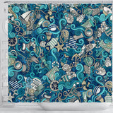 Nautical Design Shower Curtain (Turquoise) - FREE SHIPPING