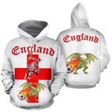 England Soccer Fan All Over Hoodie (Red Text) - FREE SHIPPING
