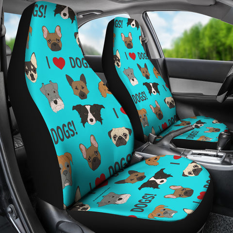 I Love Dogs Car Seat Covers (FPD Cyan) - FREE SHIPPING