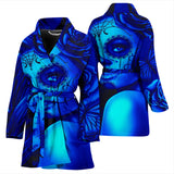 Calavera Fresh Look Design #2 Women's Bathrobe (Blue Elusive Rose) - FREE SHIPPING