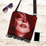 Calavera Fresh Look Design #3 Cross-Body Boho Handbag (Red Garnet) - FREE SHIPPING