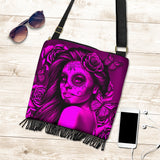 Calavera Fresh Look Design #2 Cross-Body Boho Handbag (Pink Easy On The Eyes Rose) - FREE SHIPPING