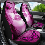Calavera Fresh Look Design #3 Car Seat Covers (Pink Mystic Topaz) - FREE SHIPPING