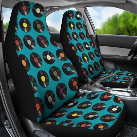 Vinyl Records Design #1 (Blue) Car Seat Covers - FREE SHIPPING