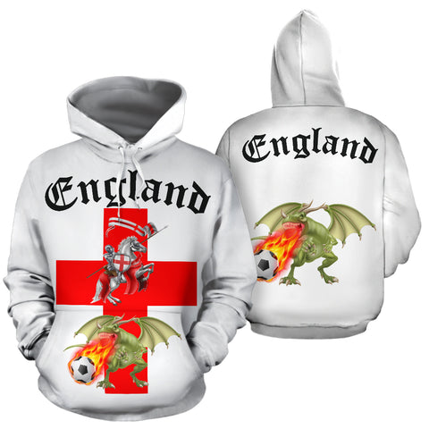 England Soccer Fan All Over Hoodie (Black Text) - FREE SHIPPING