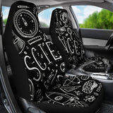 Science Chalkboard Car Seat Covers Black - FREE SHIPPING