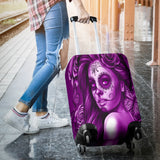 Calavera Fresh Look Design #2 Luggage Cover (Purple Night Owl Rose) - FREE SHIPPING