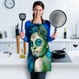 Calavera Fresh Look Design #2 Women's Apron (Turquoise Tiffany Rose) - FREE SHIPPING