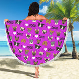 I Love Dogs Beach Blanket (FPD Lilac) - FREE SHIPPING