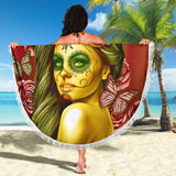 Calavera Fresh Look Design #2 Beach Blanket (Yellow Smiley Face Rose) - FREE SHIPPING