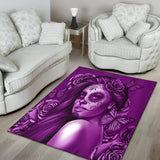 Calavera Fresh Look Design #2 Area Rug (Vertical, Purple Night Owl Rose) - FREE SHIPPING