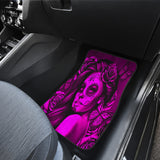 Calavera Fresh Look Design #2 Car Floor Mats (Pink Easy On The Eyes Rose, Front & Back) - FREE SHIPPING