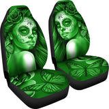 Calavera Fresh Look Design #2 Car Seat Covers (Green Lime Rose) - FREE SHIPPING