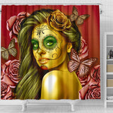 Calavera Fresh Look Design #2 Shower Curtain (Yellow Smiley Face Rose)