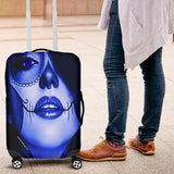Calavera Fresh Look Design #3 Luggage Cover (Blue Lapis Lazuli) - FREE SHIPPING