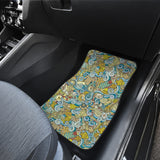 Nautical Design Car Floor Mats (Yellow, Front & Back) - FREE SHIPPING
