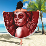 Calavera Fresh Look Design #2 Beach Blanket (Red Freedom Rose) - FREE SHIPPING