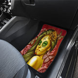 Calavera Fresh Look Design #2 Car Floor Mats (Yellow Smiley Face Rose, Front & Back) - FREE SHIPPING