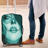 Calavera Fresh Look Design #3 Luggage Cover (Ice Blue Aquamarine) - FREE SHIPPING