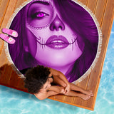Calavera Fresh Look Design #3 Beach Blanket (Purple Amethyst) - FREE SHIPPING