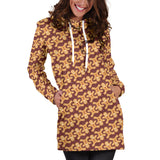 Ugly Christmas Sweater Hoodie Dress - Gingerbread Men Design #3 (Brown) - For Small To Plus Size Divas - FREE SHIPPING