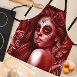Calavera Fresh Look Design #2 Women's Apron (Red Freedom Rose) - FREE SHIPPING