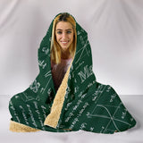 Mathematica Hooded Blanket Design #2 Green Chalkboard - FREE SHIPPING