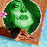 Calavera Fresh Look Design #3 Beach Blanket (Green Emerald) - FREE SHIPPING