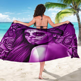 Calavera Fresh Look Design #2 Sarong (Purple Night Owl Rose) - FREE SHIPPING