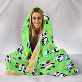 Cute Pandas Design #1 Hooded Blanket (Green) - FREE SHIPPING