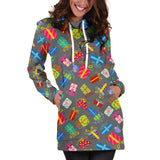 Ugly Christmas Sweater Hoodie Dress - Christmas Presents Design #1 (Gray) - For Small To Plus Size Divas - FREE SHIPPING