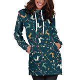 Ugly Christmas Sweater Hoodie Dress - Flying Reindeer Design #1 (Blue) - For Small To Plus Size Divas - FREE SHIPPING